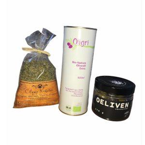 Oligri Probierset 500ml Olivenöl Gewürzmischung Oliven Variation