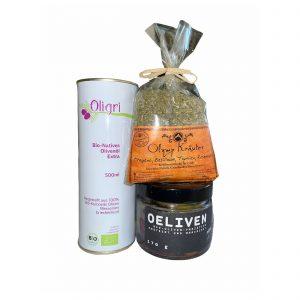 Set Oligri Olivenöl Gewürzmischung Oliven Variation